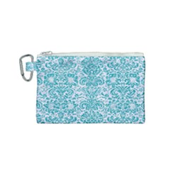 Damask2 White Marble & Turquoise Glitter (r) Canvas Cosmetic Bag (small) by trendistuff
