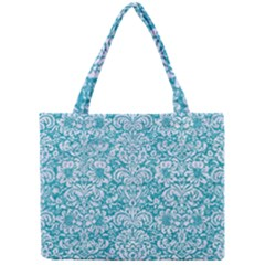 Damask2 White Marble & Turquoise Glitter Mini Tote Bag by trendistuff