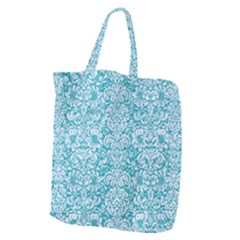 Damask2 White Marble & Turquoise Glitter Giant Grocery Zipper Tote by trendistuff