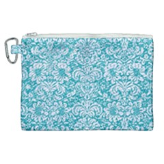 Damask2 White Marble & Turquoise Glitter Canvas Cosmetic Bag (xl) by trendistuff