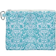 Damask2 White Marble & Turquoise Glitter Canvas Cosmetic Bag (xxxl)