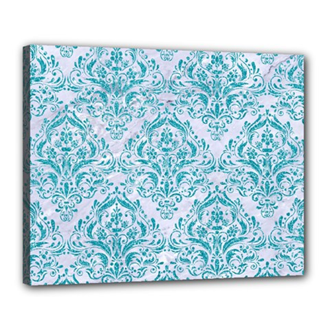 Damask1 White Marble & Turquoise Glitter (r) Canvas 20  X 16  by trendistuff