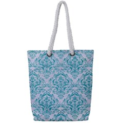 Damask1 White Marble & Turquoise Glitter (r) Full Print Rope Handle Tote (small) by trendistuff