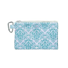 Damask1 White Marble & Turquoise Glitter (r) Canvas Cosmetic Bag (small) by trendistuff