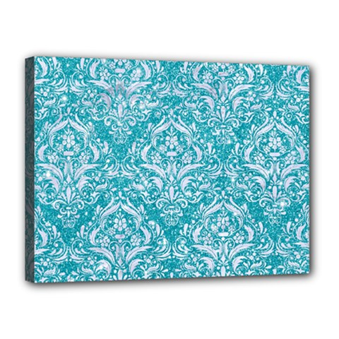 Damask1 White Marble & Turquoise Glitter Canvas 16  X 12  by trendistuff
