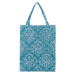 Damask1 White Marble & Turquoise Glitter Classic Tote Bag by trendistuff