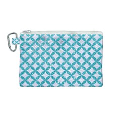 Circles3 White Marble & Turquoise Glitter (r) Canvas Cosmetic Bag (medium) by trendistuff