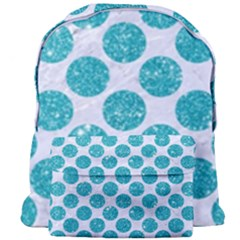 Circles2 White Marble & Turquoise Glitter (r) Giant Full Print Backpack by trendistuff
