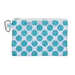 Circles2 White Marble & Turquoise Glitter (r) Canvas Cosmetic Bag (large) by trendistuff