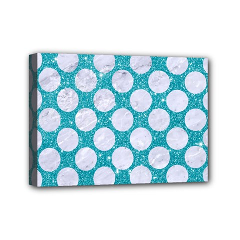 Circles2 White Marble & Turquoise Glitter Mini Canvas 7  X 5