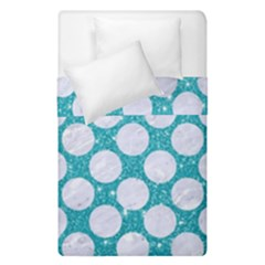 Circles2 White Marble & Turquoise Glitter Duvet Cover Double Side (single Size) by trendistuff