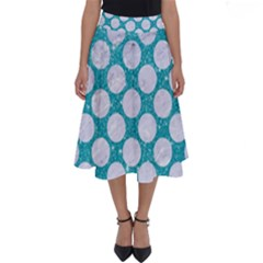 Circles2 White Marble & Turquoise Glitter Perfect Length Midi Skirt