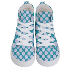 Circles2 White Marble & Turquoise Glitter Kid s Hi Top Skate Sneakers