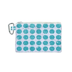 Circles1 White Marble & Turquoise Glitter (r)uoise Glitter (r) Canvas Cosmetic Bag (small) by trendistuff