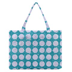 Circles1 White Marble & Turquoise Glitter Zipper Medium Tote Bag by trendistuff