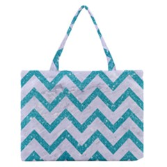 Chevron9 White Marble & Turquoise Glitter (r) Zipper Medium Tote Bag by trendistuff