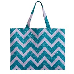 Chevron9 White Marble & Turquoise Glittere Glitter Zipper Mini Tote Bag by trendistuff
