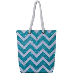 Chevron9 White Marble & Turquoise Glittere Glitter Full Print Rope Handle Tote (small) by trendistuff