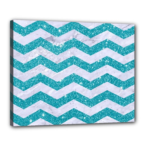 Chevron3 White Marble & Turquoise Glitter Canvas 20  X 16  by trendistuff