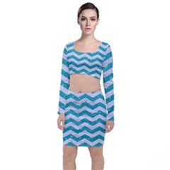 Chevron3 White Marble & Turquoise Glitter Long Sleeve Crop Top & Bodycon Skirt Set