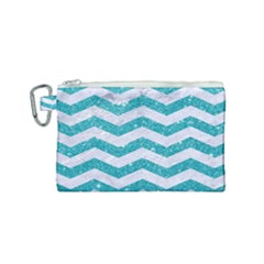 Chevron3 White Marble & Turquoise Glitter Canvas Cosmetic Bag (small) by trendistuff