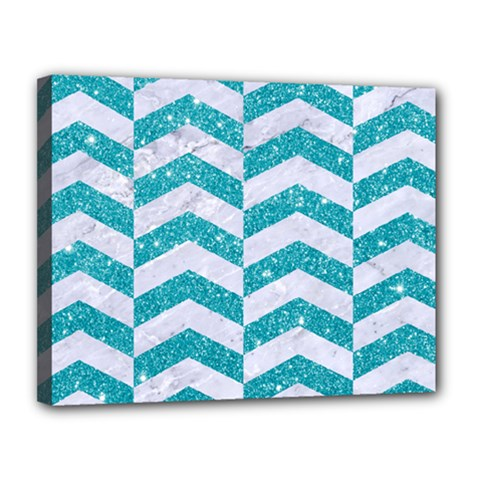 Chevron2 White Marble & Turquoise Glitter Canvas 14  X 11  by trendistuff