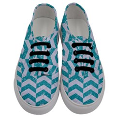 Chevron2 White Marble & Turquoise Glitter Men s Classic Low Top Sneakers