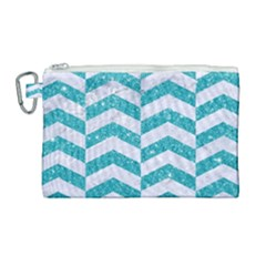Chevron2 White Marble & Turquoise Glitter Canvas Cosmetic Bag (large) by trendistuff