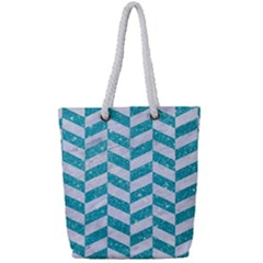 Chevron1 White Marble & Turquoise Glitter Full Print Rope Handle Tote (small) by trendistuff
