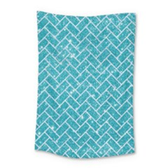 Brick2 White Marble & Turquoise Glitter Small Tapestry