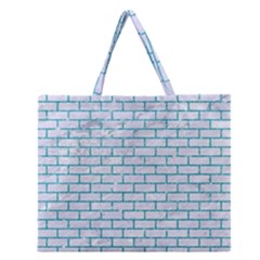 Brick1 White Marble & Turquoise Glitter (r) Zipper Large Tote Bag by trendistuff