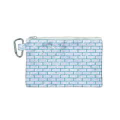 Brick1 White Marble & Turquoise Glitter (r) Canvas Cosmetic Bag (small) by trendistuff