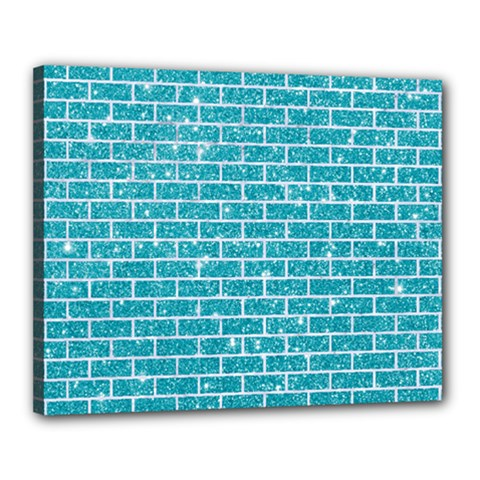 Brick1 White Marble & Turquoise Glitter Canvas 20  X 16  by trendistuff