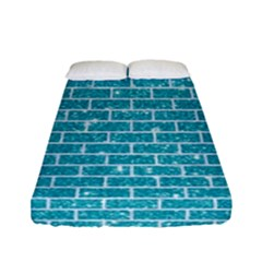 Brick1 White Marble & Turquoise Glitter Fitted Sheet (full/ Double Size) by trendistuff