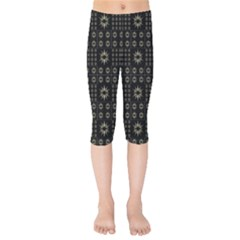 Dark Ethnic Stars Motif Pattern Kids  Capri Leggings  by dflcprints