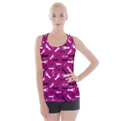 Hot Pink Criss Cross Back Tank Top  by HASHHAB