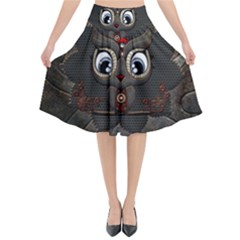 Wonderful Cute  Steampunk Owl Flared Midi Skirt