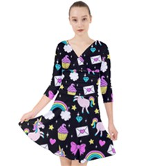 Cute Unicorn Pattern Quarter Sleeve Front Wrap Dress