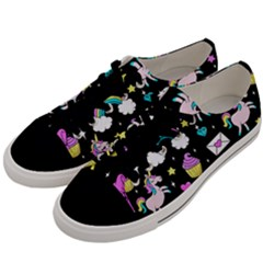 Cute Unicorn Pattern Men s Low Top Canvas Sneakers by Valentinaart
