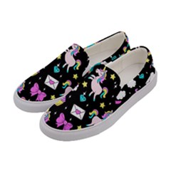 Cute Unicorn Pattern Women s Canvas Slip Ons by Valentinaart