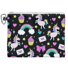 Cute Unicorn Pattern Canvas Cosmetic Bag (xxl) by Valentinaart