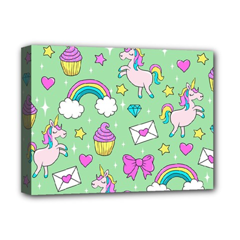 Cute Unicorn Pattern Deluxe Canvas 16  X 12   by Valentinaart