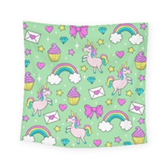 Cute Unicorn Pattern Square Tapestry (small) by Valentinaart