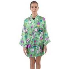 Cute Unicorn Pattern Long Sleeve Kimono Robe by Valentinaart