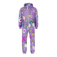 Cute Unicorn Pattern Hooded Jumpsuit (kids)
