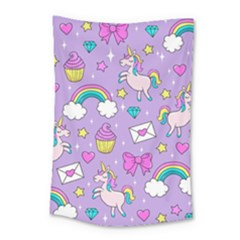 Cute Unicorn Pattern Small Tapestry by Valentinaart