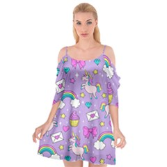 Cute Unicorn Pattern Cutout Spaghetti Strap Chiffon Dress by Valentinaart