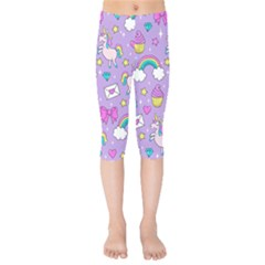 Cute Unicorn Pattern Kids  Capri Leggings