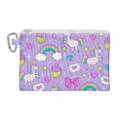 Cute Unicorn Pattern Canvas Cosmetic Bag (large)