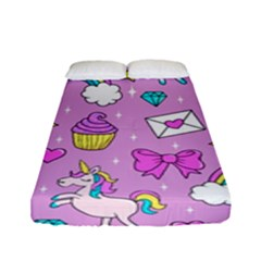 Cute Unicorn Pattern Fitted Sheet (full/ Double Size) by Valentinaart